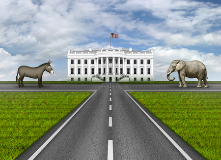 Digital illustration of the White House, three roads leading to it, and an elephant and donkey representing the Republican and Democratic parties.