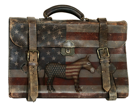 Antique briefcase printed with the United States flag and a donkey representing the democratic party.