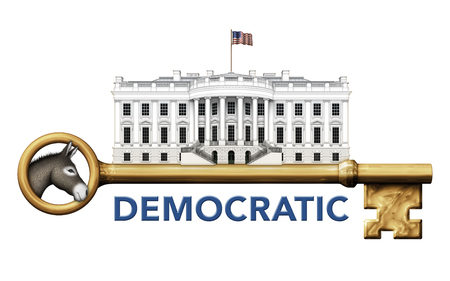 house donkey: Digital illustration of the White House, a skeleton key, and a donkey representing the Democratic party.