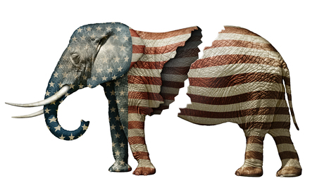 republican: Photo illustration of a flag adorned elephant, split in two to represent the fracturing of the Republican party.