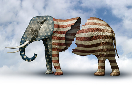 republican elephant: Photo illustration of a flag adorned elephant, split in two to represent the fracturing of the Republican party.