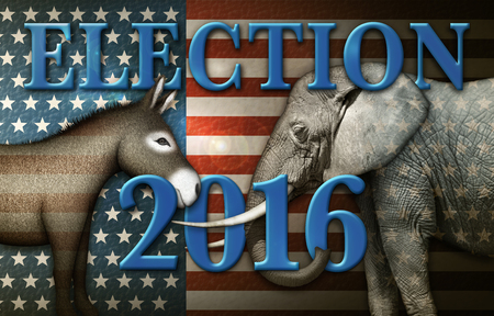 Election 2016 title with a Donkey and Elephant against a stars and stripes background.