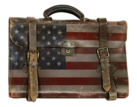 Antique briefcase printed with the United States flag. Stock Photo