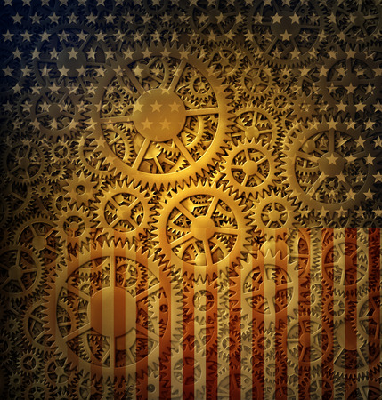 Digital illustration combining hundreds of gears with the stars and stripes of the flag of the United States. The Gears of Democracy. Stock Photo