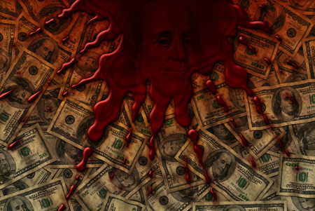 Background of fifty and one hundred dollar bills with blood spatter on top. Stock Photo