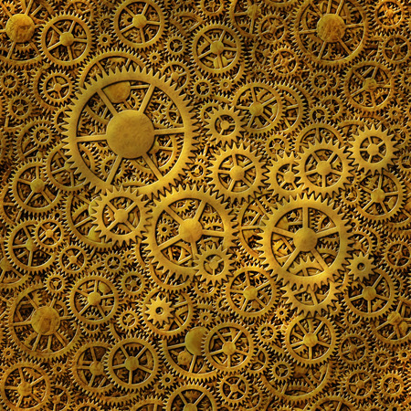 Digital illustration of multiple layers of both interlocking and loose gears.