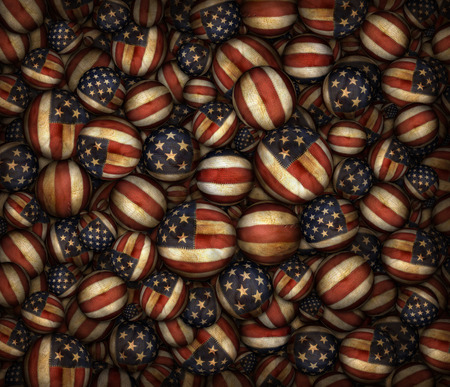 Digital illustration of antique fabric balls bearing the United States flag.