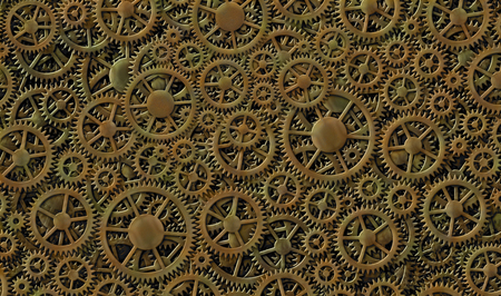 Digital illustration of the stars and stripes of the flag of the United States combined with gears.