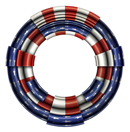 Illustration of a segmented circular frame imprinted with the design of the United States flag. Includes a clipping path.
