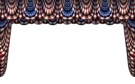 Illustration of bunting and stage curtain using the flag of the United States. Includes a clipping path to easily place over other images.