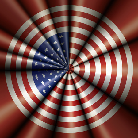 Illustration of the flag of the United States in a circular target like design.