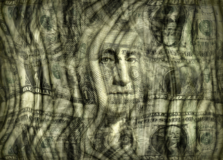 Photo illustration of the U.S. one dollar bill presented in a dreamy distorted design.