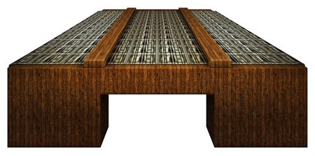 A sheet of United States one dollar bills on a wooden inspection table.