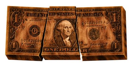 depreciation: Photo illustration of a broken wooden U.S. one dollar bill.