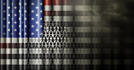 Illustration of the flag of the United States with the stripes changing to black and white, storm clouds, and symbols representing the black and white population.