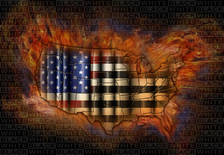 Illustration of the flag and map of the United States with the stripes changing to black and white, storm clouds, flames, and symbols representing the black and white population.