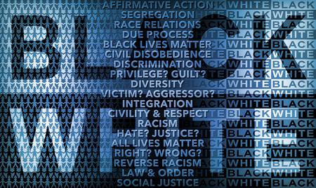 conflictos sociales: Cartel como la ilustración sobre las relaciones raciales blancos utilizando palabras e iconos como elementos de diseño para mostrar algunos de los problemas que surgen cuando se habla de la armonía racial o la discordia y Negro. Foto de archivo
