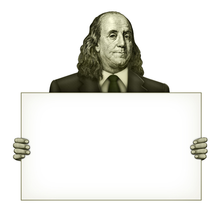 Illustration of a blank sign being held by Benjamin Franklin from the one hundred dollar bill.