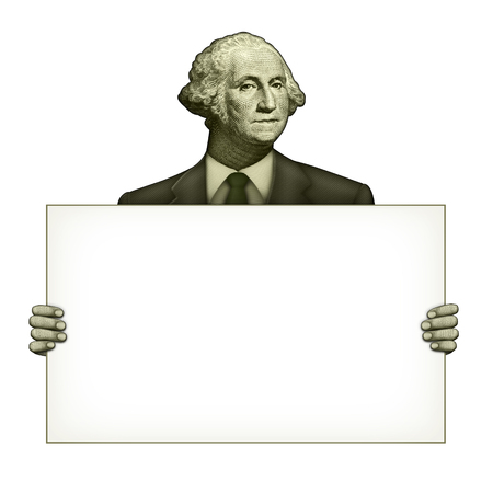 Illustration of a blank sign being held by George Washington from the one dollar bill. Stock Photo