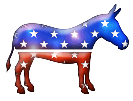 3D Democratic donkey symbol with multiple star shapes cut into it. Archivio Fotografico