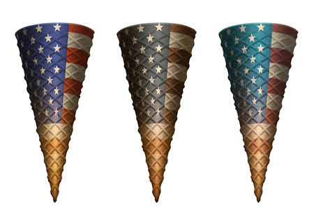 Patriotic or political empty ice cream cones. Includes a clipping path to add your own contents. Banco de Imagens - 121837252