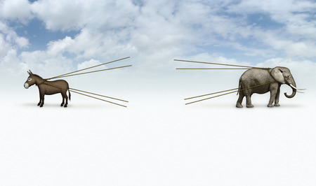 ready for war: Digital and photo illustration of a donkey and elephant in a tug of war. A Blank area is ready for whatever image you want to add. Stock Photo