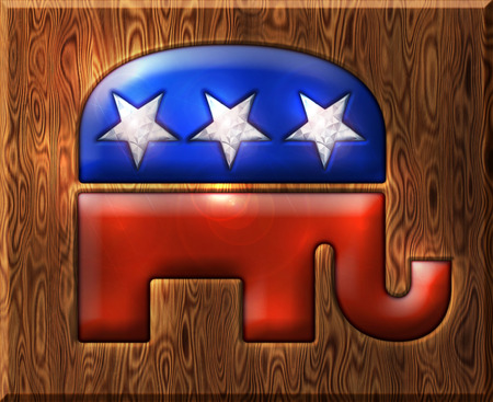 pachyderm: 3D Republican elephant symbol inlaid with diamond stars and embedded in a wooden base.