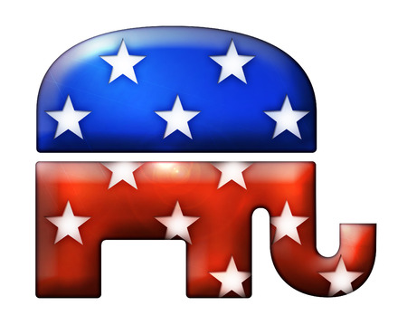 numerous: 3D Republican elephant symbol with numerous star shapes cut into it. Includes a clipping path. Stock Photo