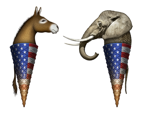 primaries: Digital and photo illustration of a donkey and elephant as two flavors of ice cream in cones, representing democrats and republicans.