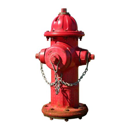 boca de incendios de color rojo con una cadena. Aislado de su fondo.