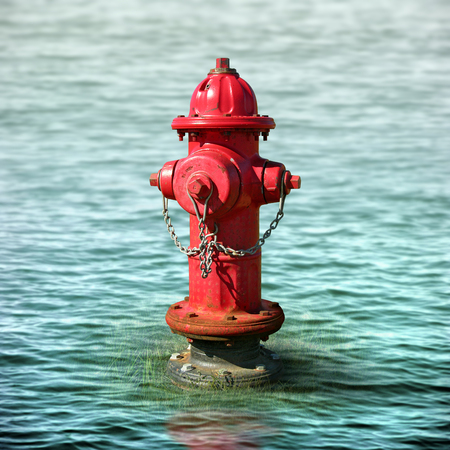 Photo illustration of a fire hydrant surrounded by flood waters.