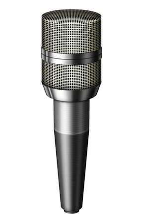 Digital illustration of a microphone. Isolated from any background. 3D illustration.