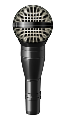 amplification: Digital illustration of a microphone with a black casing. Isolated from any background. 3D illustration.
