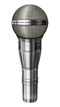 Digital illustration of a microphone with a silver casing. Isolated from any background. 3D illustration.