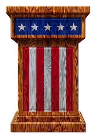 3D Digitale afbeelding van een houten podium met sterren en strepen. Bevat een uitknippad.
