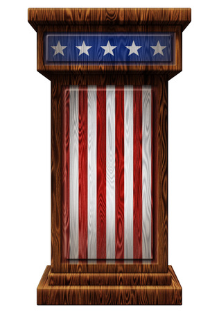 3D Digital illustration of a wooden podium with stars and stripes. Includes a clipping path.