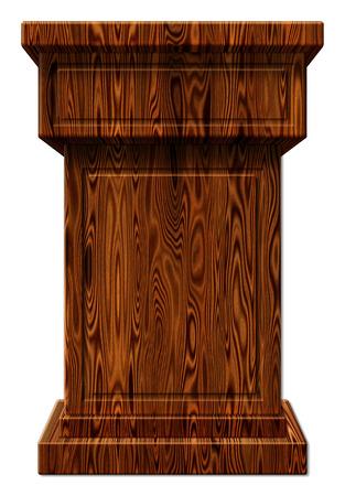 3D Digitale afbeelding van een houten podium. Bevat een uitknippad.