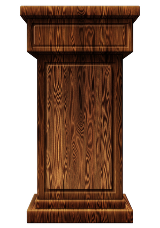 3D Digital illustration of a wooden podium. Includes a clipping path.
