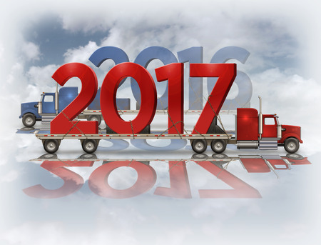 3D illustration of the year 2017 and 2016 on red and blue flatbed trucks set on a reflective surface with a sky background.
