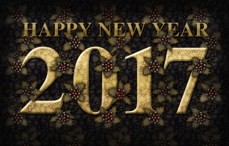 Digital illustration of the words Happy New Year 2017 integrated with a background of Holly plants.