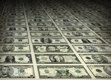 1枚、ファイブ、十、20代、50年代、数百で構成される米国の通貨紙幣の写真図。数千と何百万の紙幣は、他の法案の一部に加えて、古い米国の郵便切