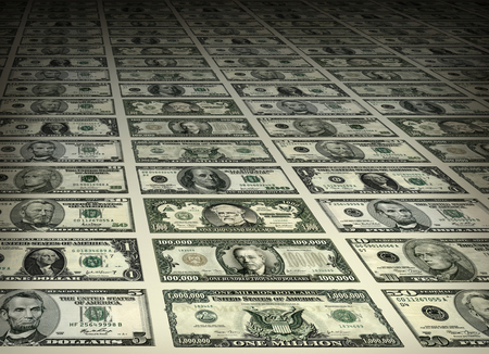 Photo illustration of a sheet of U.S. currency bills made up of ones, fives, tens, twenties, fifties, and hundreds. Bills in the thousands and millions are created from parts of the other bills plus portraits from old United States postage stamps.