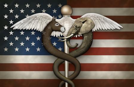 Illustratie van een Caduceus, een symbool van geneeskunde, met een olifant en ezel die de traditionele slangen vervangt, het debat over gezondheidszorg tussen democraten en republikeinen vertegenwoordigt. Stockfoto