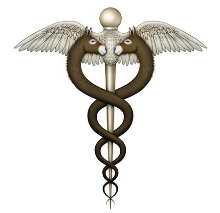 Ilustración digital de un caduceo, un símbolo de la medicina, diseñado con dos burros para representar la atención de la salud como se ve y legislado desde una perspectiva de demócrata.