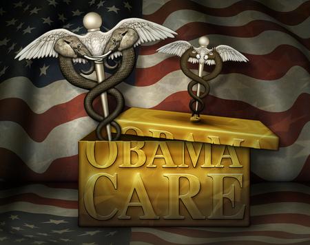 Een gouden doos met het label Obamacare met een caduceus, een symbool van de geneeskunde, op het deksel van de Democraten. Een Republikeinse caduceus heeft de doos opengebroken. 3D illustratie