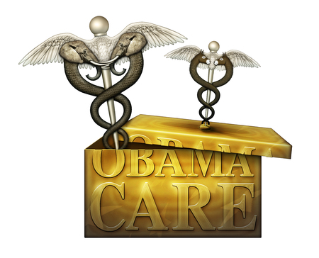 A golden box labeled Obamacare with a Caduceus, a symbol of medicine, on the lid. It represents Democrats. Another symbol representing Republicans has pried the box open. 3D Illustration