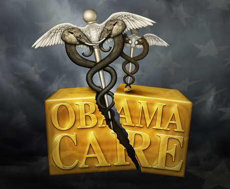 A golden box labeled Obamacare with a Caduceus, a symbol of medicine, on the lid. It represents Democrats. Another symbol representing Republicans has boken the box in two. 3D Illustration Stock Photo