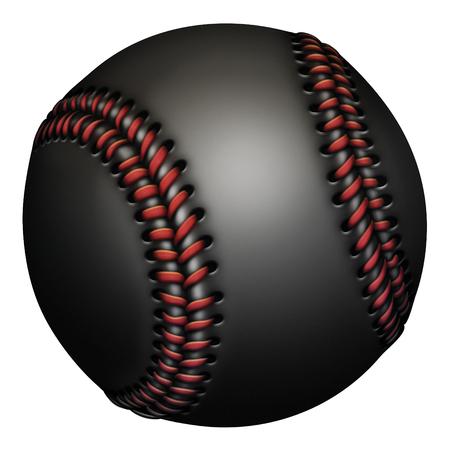 Illustration of a black baseball with red laces.