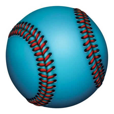 Illustration of a blue baseball with red stitches.