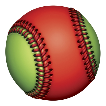 Illustration of a red and green baseball.